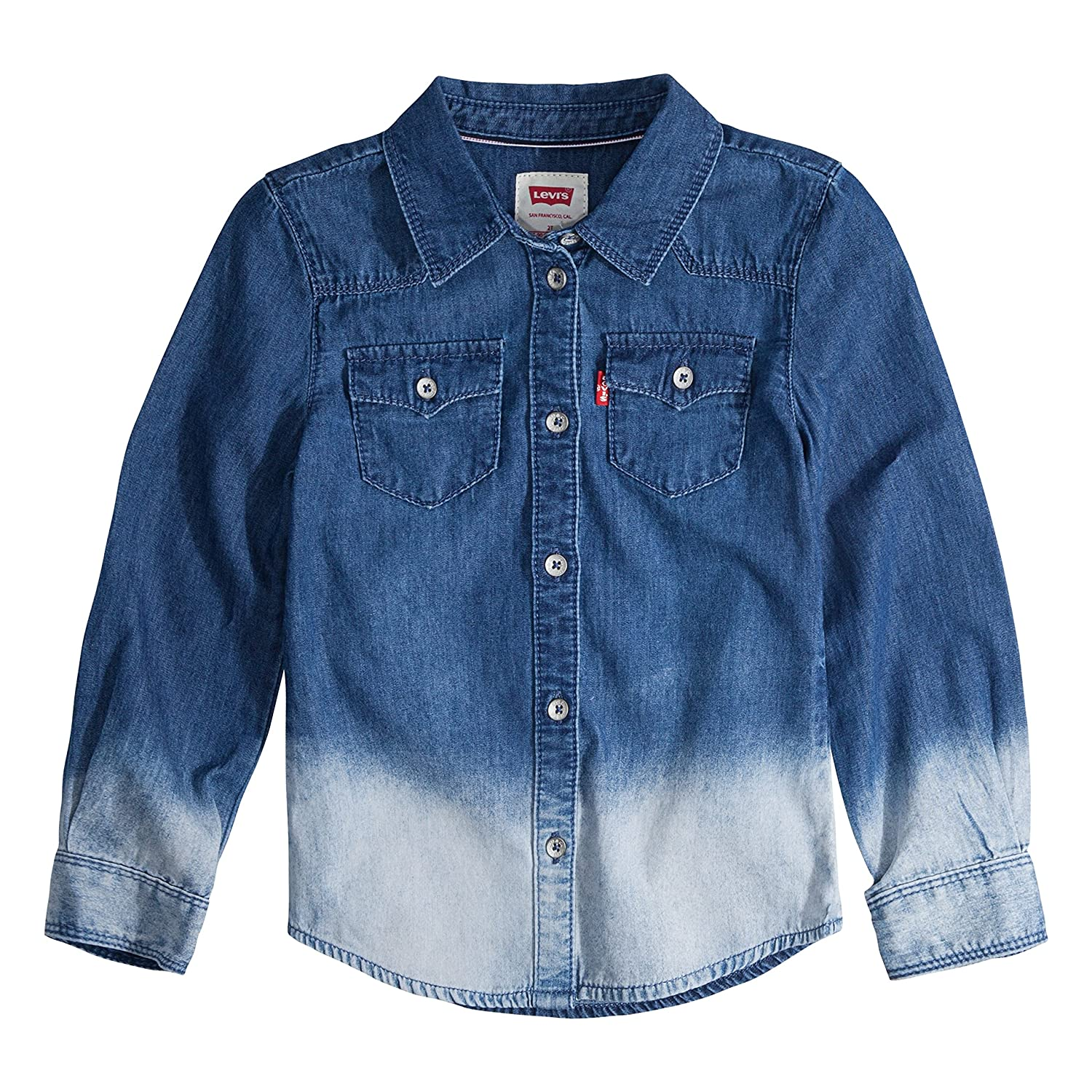 7bbf5360c Amazon.com: Levi's Girls' Toddler Long Sleeve Button Up Shirt, Blue Winds  Fade 3T: Clothing