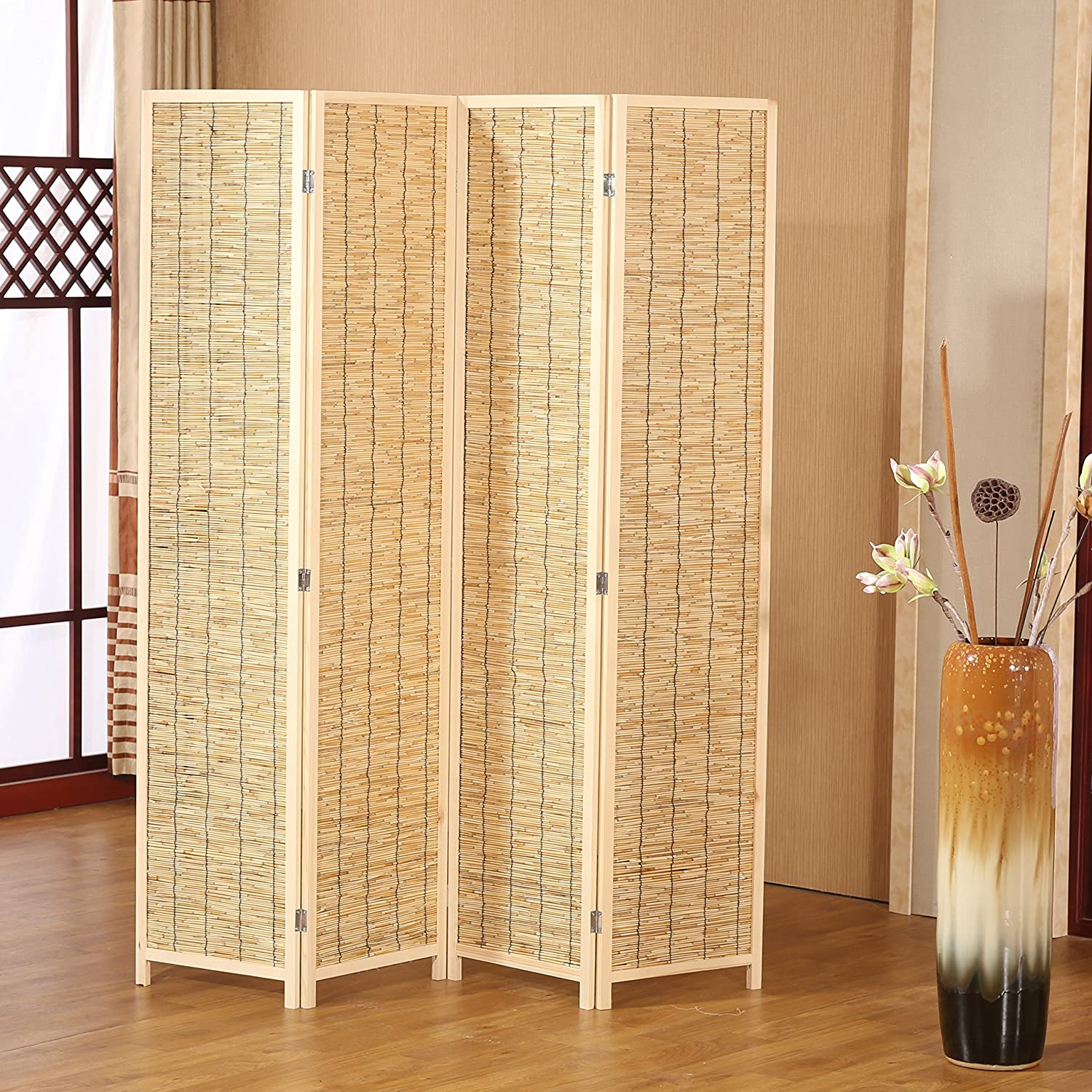 Decorative panel wood bamboo folding room divider screen