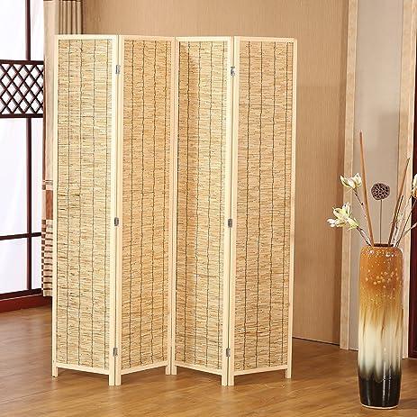 Decorative 4 Panel Wood U0026 Bamboo Folding Room Divider Screen, Beige