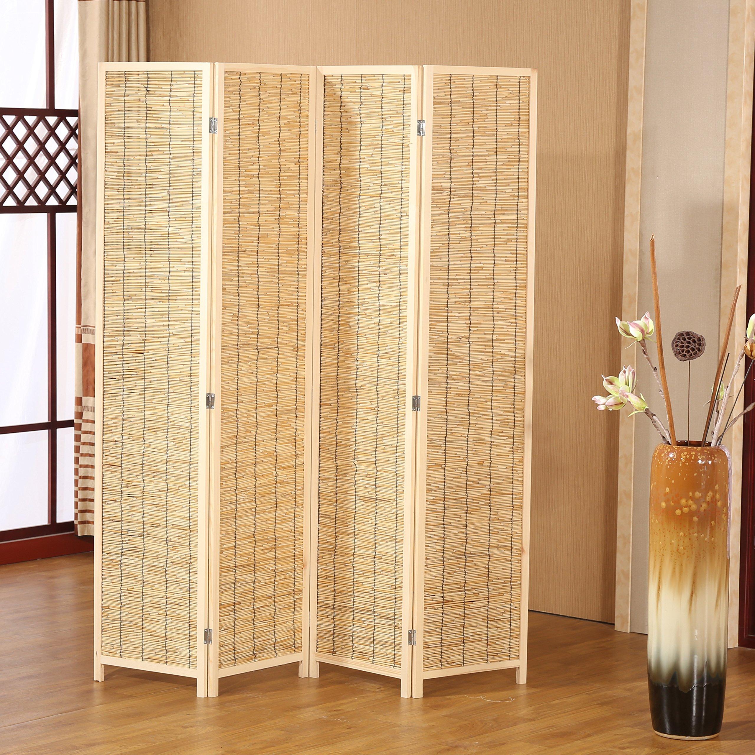Decorative 4 Panel Wood & Bamboo Folding Room Divider Screen, Beige