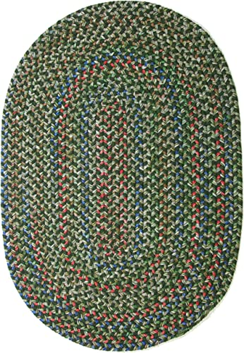 Katherine Multi Indoor Outdoor Oval Braided Rug, 2 by 3-Feet, Sage