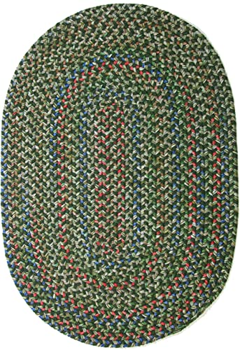 Katherine Multi Indoor Outdoor Oval Braided Rug, 5 by 8-Feet, Sage