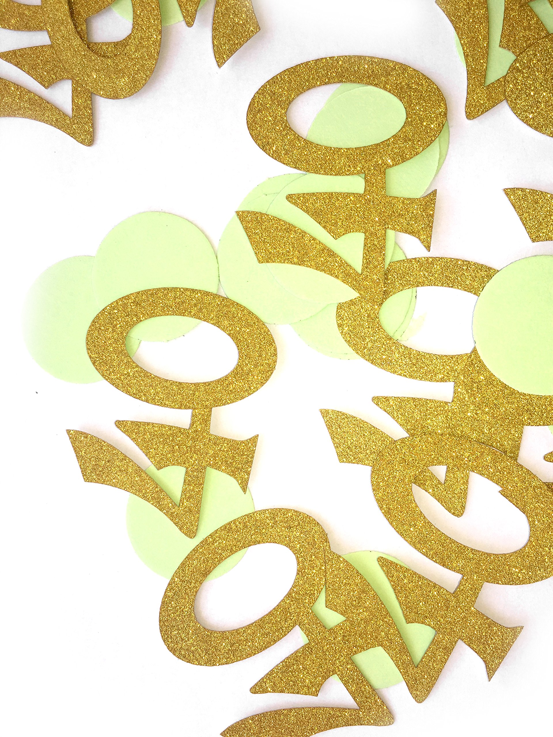 Glitter Gold 40th Birthday Party Confetti - 2 Packs - (40ct each pack), 40th Birthday Decorations, Mint Green and Gold Number ''40'' and Circle Confetti, Celebrating 40 Party Confetti