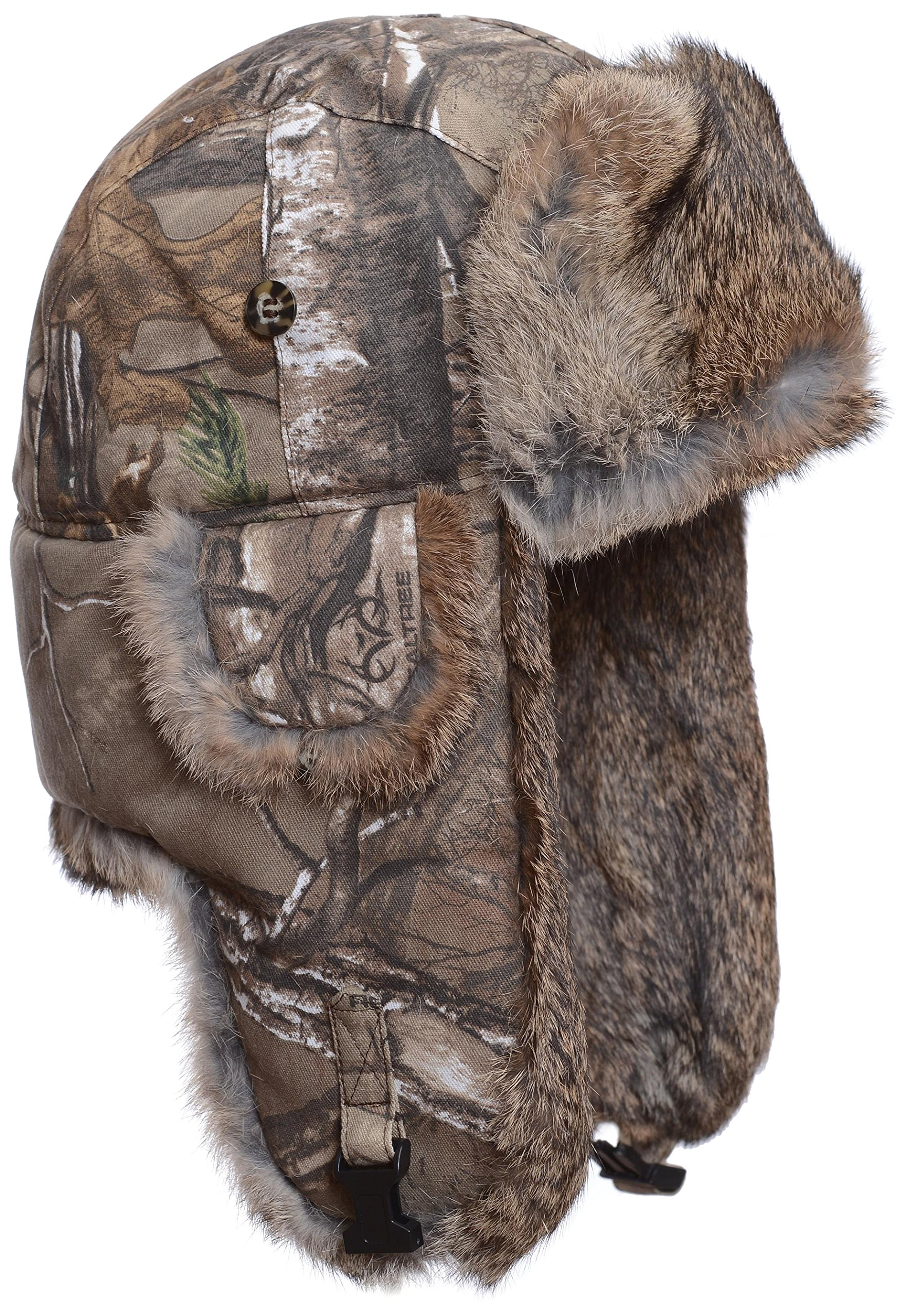 Mad Bomber Realtree Camo Canvas Aviator Pilot Bomber Hat Real Rabbit Fur Trapper Hunting Cap, X-Large