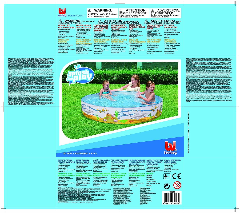 Bestway 55026B Ocean Life Fill N Fun - Piscina portátil para niños (152 x 25 cm): Amazon.es: Juguetes y juegos