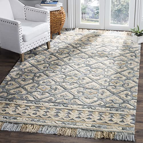 Safavieh Blossom Collection BLM420A Floral Vines Light Beige and Blue Premium Wool Area Rug 8' x 10'