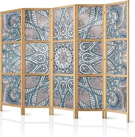 murando - Biombo XXL Mandala 225x171 cm 5 Paneles Lienzo de Tejido no Tejido Tela sintética Elegante Separador Madera Design de Moda Hecho a Mano Home Office Japón p-C-0010-z-c: Amazon.es: Hogar