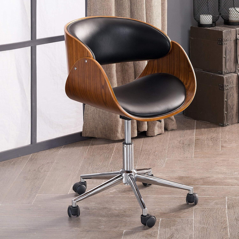 Corvus Mid-Century Wood and Metal Adjustable Office Chair