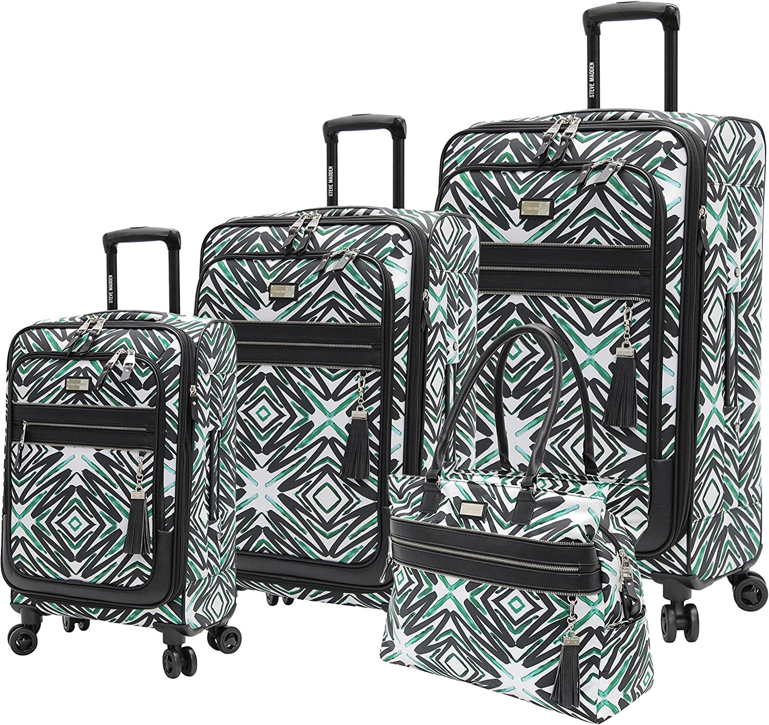 Steve Madden Designer Luggage Collection - 4 Piece Softside Expandable Lightweight Spinner Suitcase Set - Travel Set includes a Tote Bag, 21 Inch Carry on, 25 Inch & 29 Inch Checked Suitcases (Tribal)