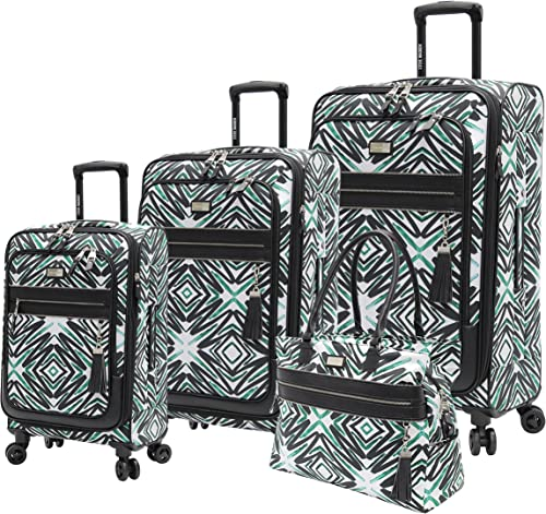 Steve Madden Designer Luggage Collection – 4 Piece Softside Expandable Lightweight Spinner Suitcase Set – Travel Set includes a Tote Bag, 21 Inch Carry on, 25 Inch 29 Inch Checked Suitcases Tribal