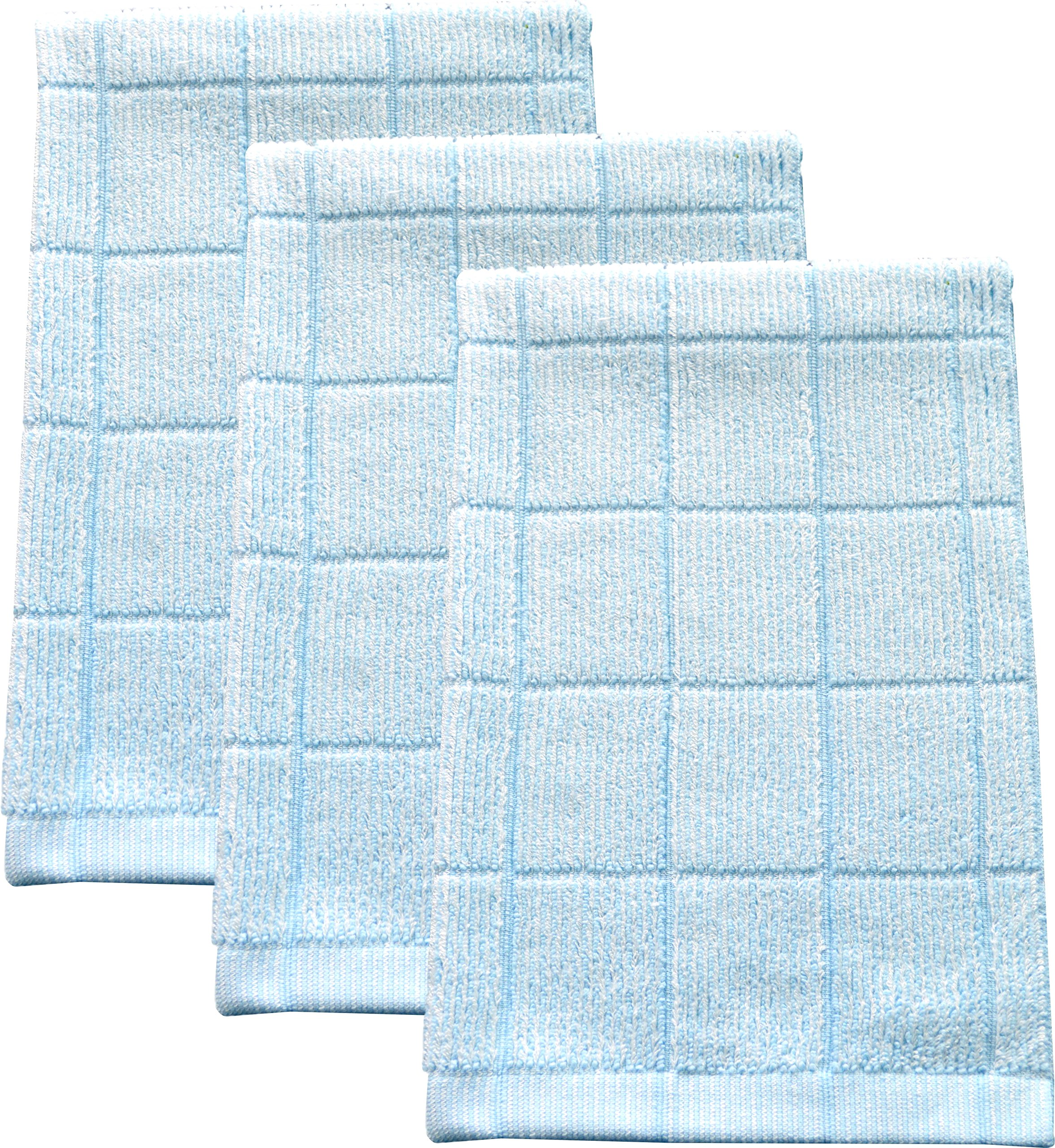 Fabresh Absorbent, Quick-Drying Kitchen Dish Towels | Premium Bamboo and Microfiber Blend for Cleaning, Washing, and Drying | Durable Reinforced Edging | 26'' X 16'' Sky Blue (Set of 3)
