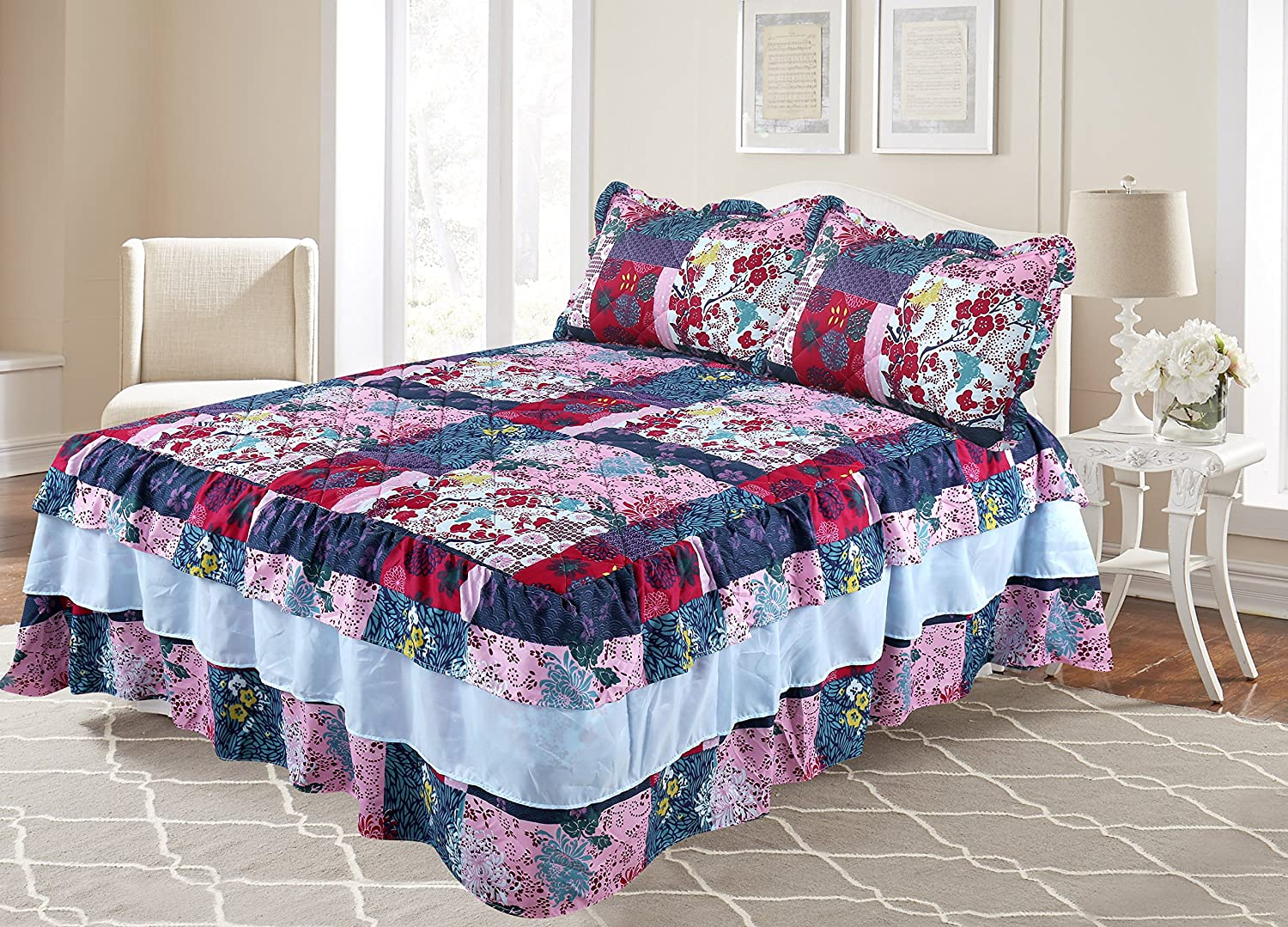 All American Collection New 3pc Bedspread/Quilt Set with Attached Bed Ruffle/Skirt King Size, Navy/ Pink