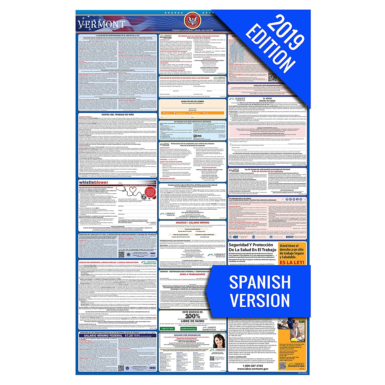 Amazon.com : 2019 Vermont (Spanish) Labor Law Poster - State ...
