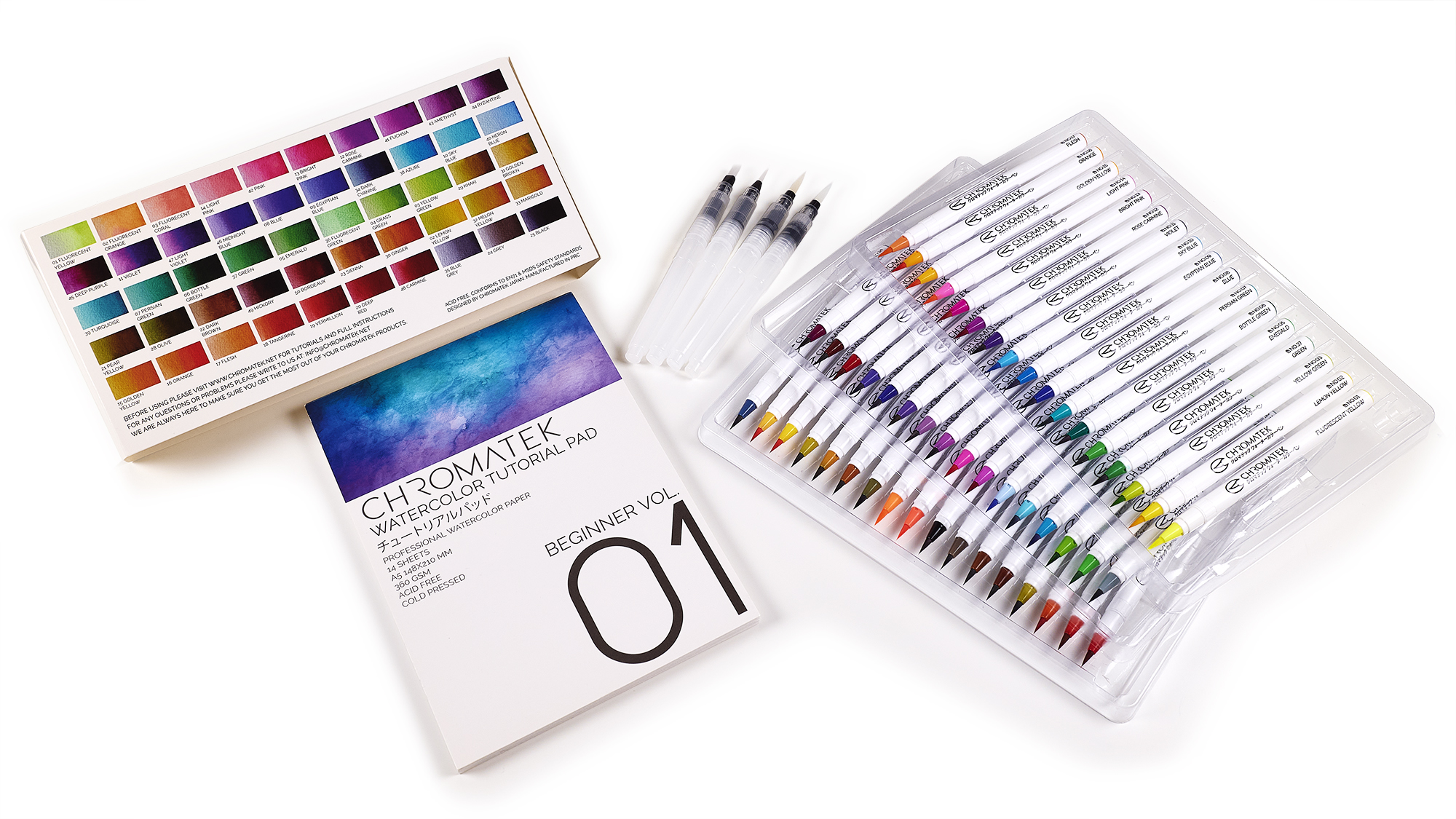 54 Watercolor Brush Pens, 15 Page Pad & Online Video Tutorial Series by Chromatek. Real Brush Tip. 4 Blending Brushes. Easily Blendable. Vivid. Smooth. 50 Unique Colors. Professional Art Supplies.