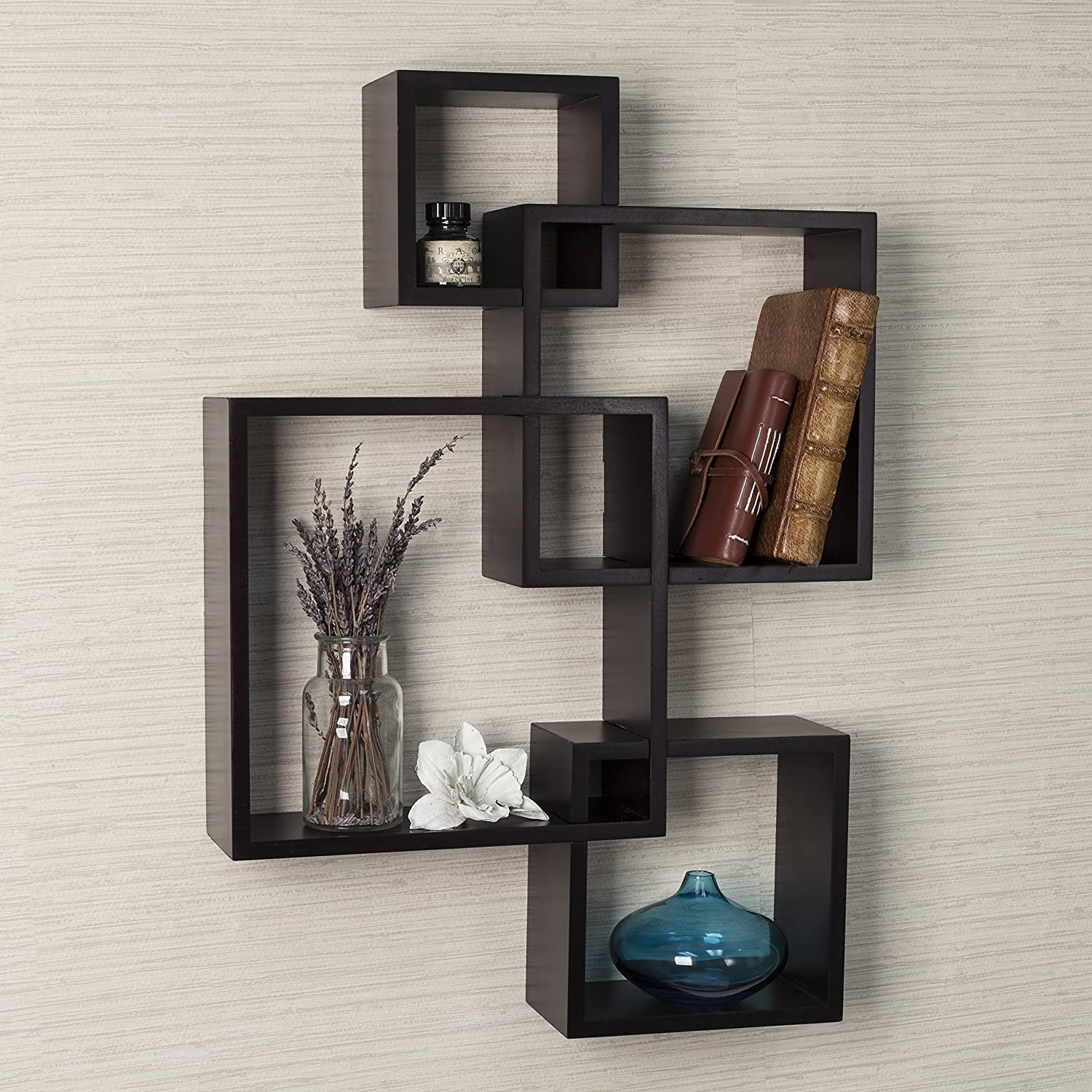 Amazon.com: Danya B. BR1023ES Intersecting Cube Shelves, Espresso: Home U0026  Kitchen