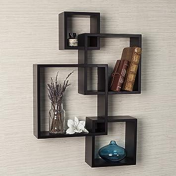 Danya B Decorative Intersecting Cubes Shelf   Espresso. Amazon com  Danya B Decorative Intersecting Cubes Shelf   Espresso