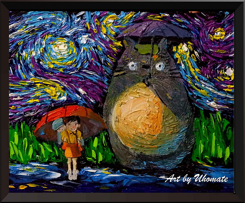 Uhomate My Neighbor Totoro in Rain Hayao Miyazaki Wall Decor Vincent Van Gogh Starry Night Posters Home Canvas Wall Art Nursery Decor Living Room Wall Decor A045 (18X24)
