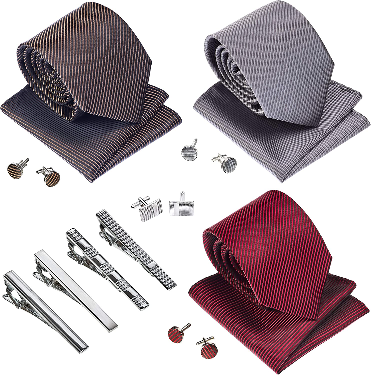 Premium Men/'s Gift Tie Set Silky Necktie Pocket Squares Tie Clips Cufflinks For Men