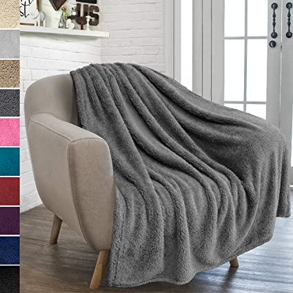 178f276d96 Amazon.com  PAVILIA Plush Sherpa Throw Blanket for Couch Sofa ...