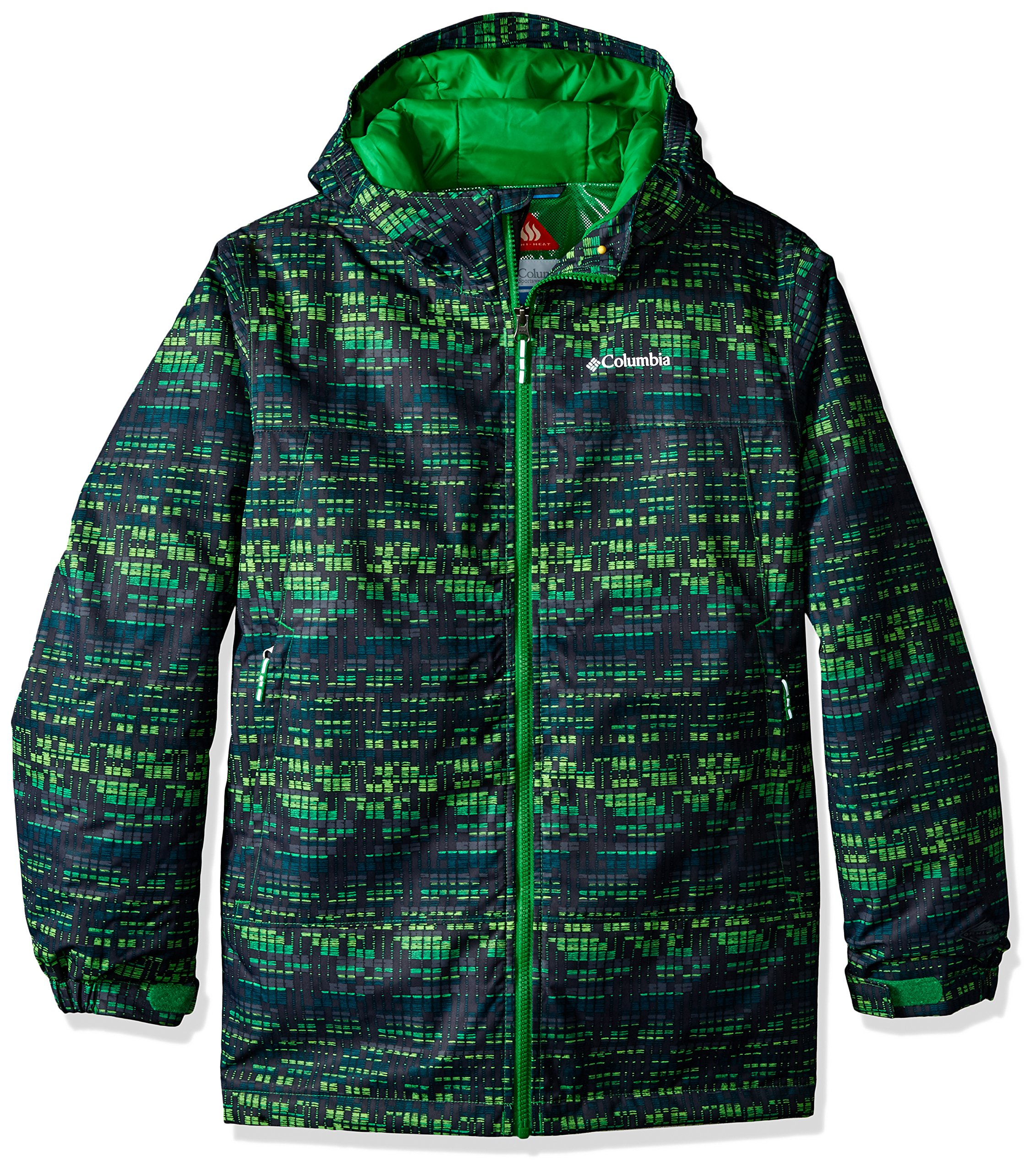 Columbia Boys Wrecktangle Jacket, Small, Cyber Green Matrix Print by Columbia