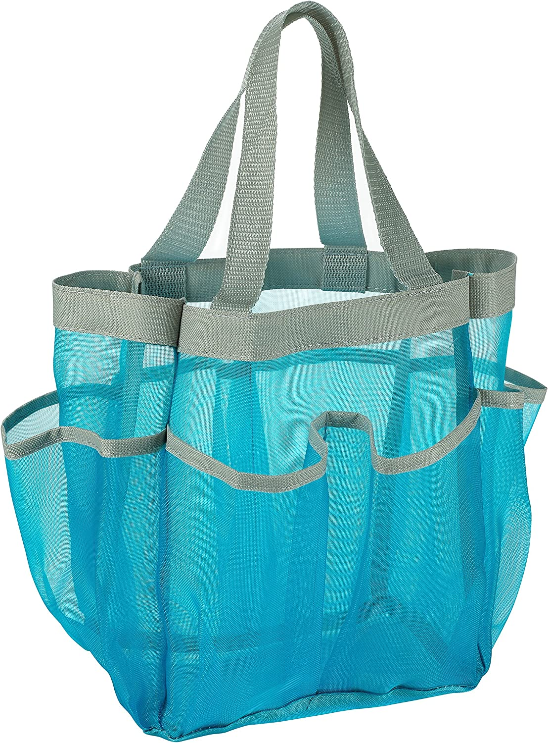 7 Pocket Shower Caddy Tote, Blue - Keep your shower essentials within easy reach. Shower caddies are perfect for college dorms, gym, shower, swimming and travel. Mesh allows water to drain easily.