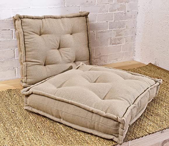 Wool Filled Tufted Square Chair Cushion/Floor Cushion/Made To Measure
