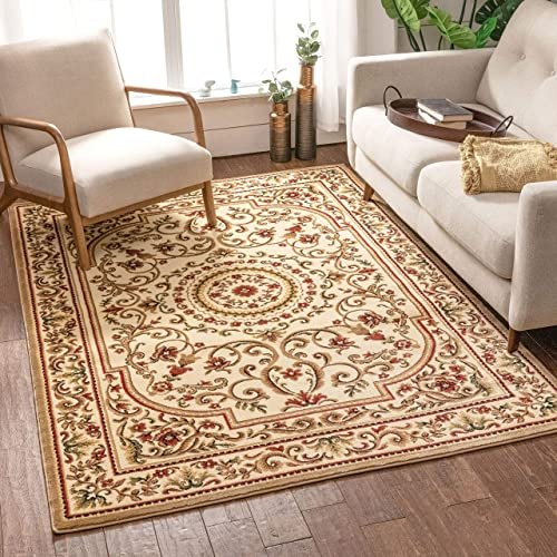 Well Woven Imperial Medallion Ivory Oriental 8×10 7'10″ x 9'10″ Traditional Persian Floral Area Rug Carpet