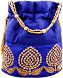 Bombay Haat Women's Ethnic Rajasthani Silk Blue Potli Bag