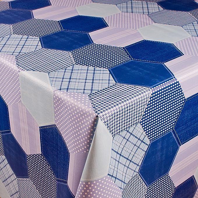 1buy3 toile cirée | DIVERS COLORIS, MOTIFS ET LONGUEURS | nappe de table avec dos en molleton (hexagones bleus, 200cm x 140 cm)