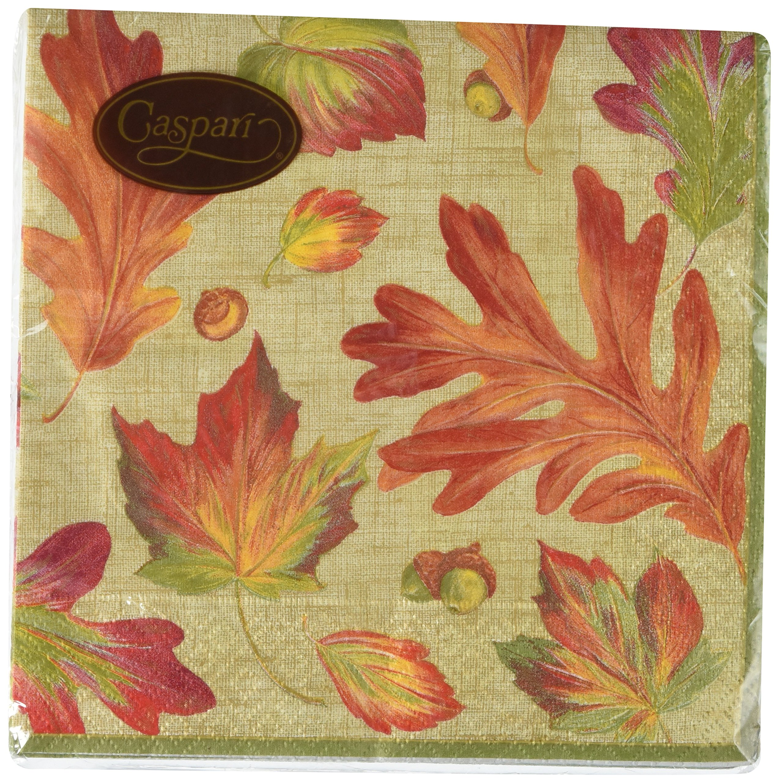 Entertaining with Caspari Linen Leaves Luncheon Napkins, Orange, (Pack of 20) by Caspari