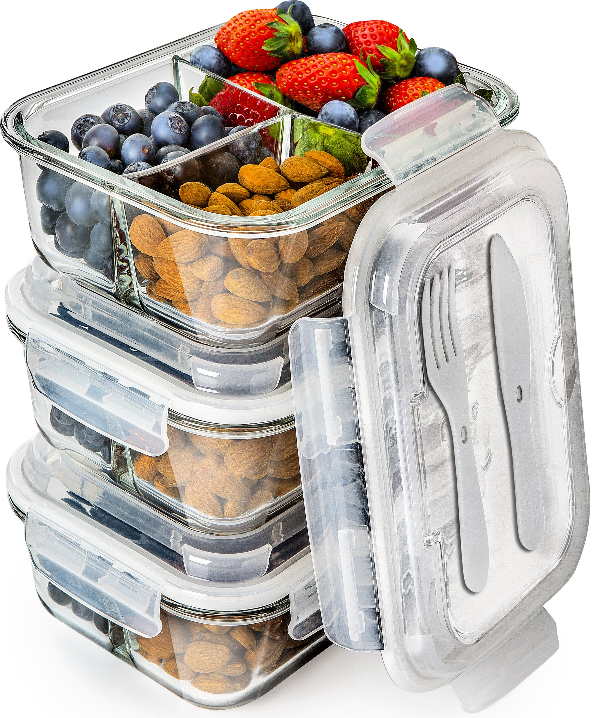 Glass Meal Prep Containers 3 Compartment - Bento Box Containers Glass Food Storage Containers with Lids - Food Containers Food Prep Containers Glass Storage Containers with lids Lunch Containers 3pk by Prep Naturals
