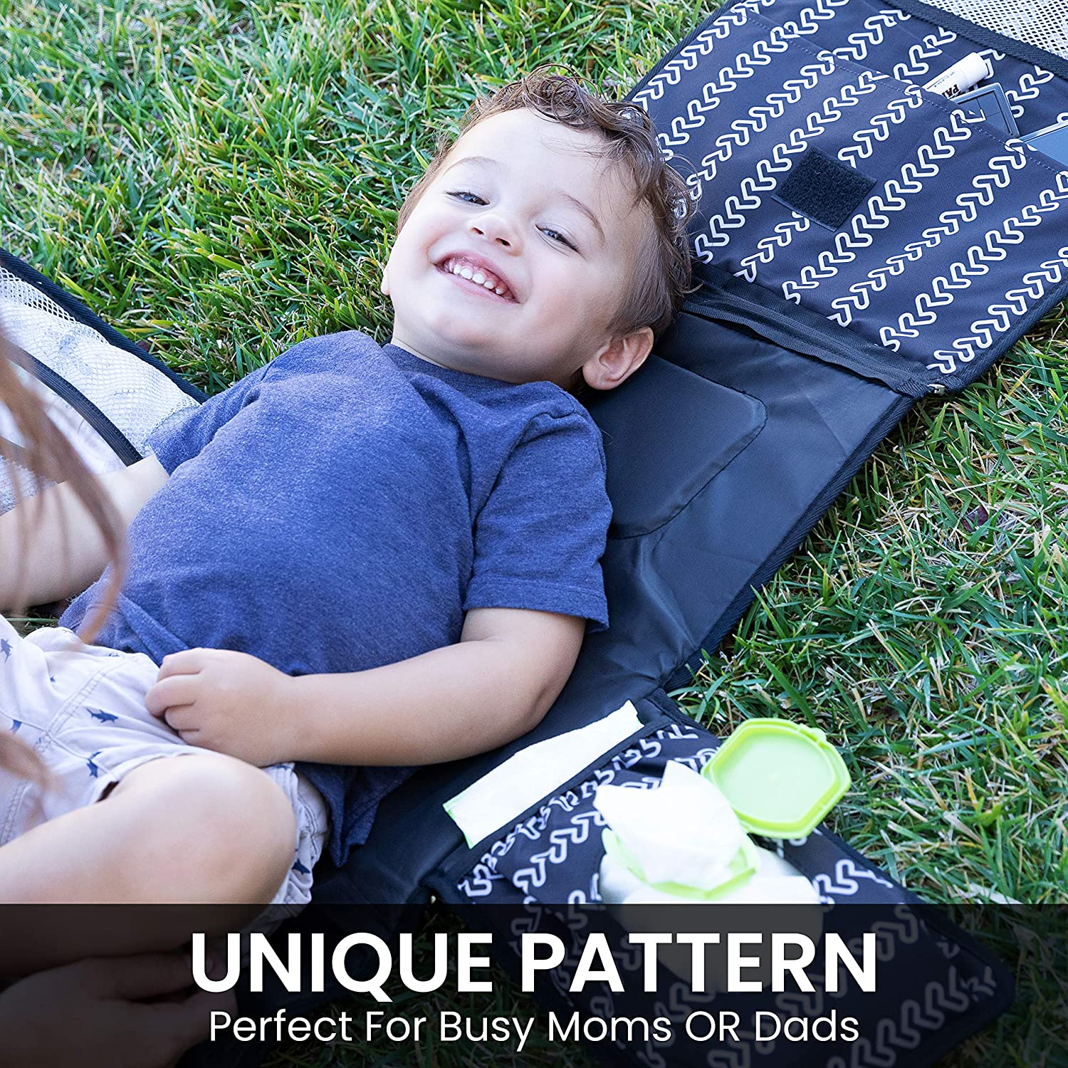 2 Extra Pockets for Wipes Creams Powder Black Waterproof Travel Mat and More Memory Foam Head Pillow Portable Changing Pad for Baby Diaper Bag