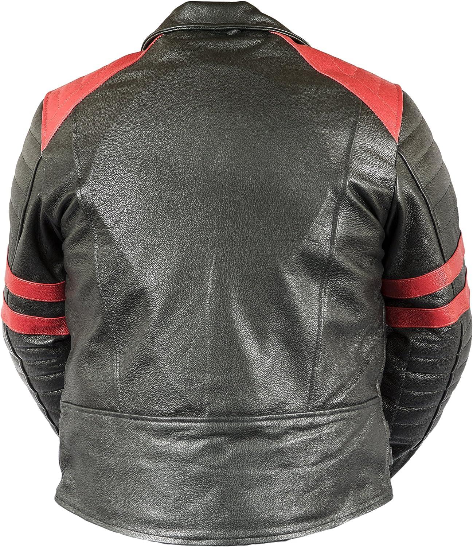 Fnf Retro Oldschool Lederjacke 80 S Lederjacke Herren Motorrad Lederjacke Biker Jacke Motorradjacke Mit Protektoren Gesteppt Bekleidung