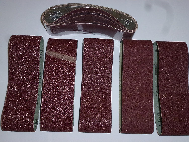 25 unidades. Bandas de lija (75 x 457 mm para lijadora de banda Mix grano K40/60/80/120/180 schleifband ag-tools