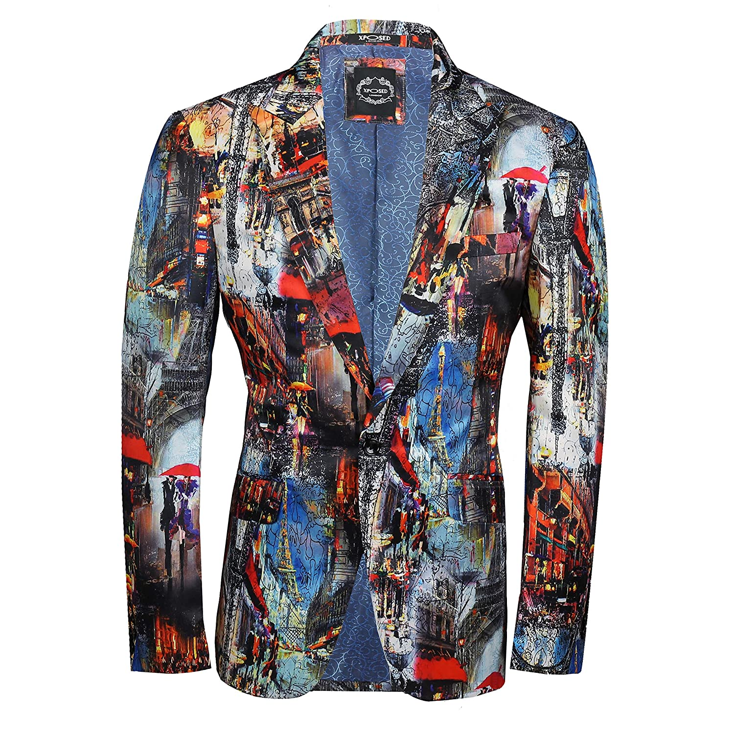 Xposed Mens Party Wear Colourful Printed Blazer Retro Vintage Slim Fit Designer Style Jacket