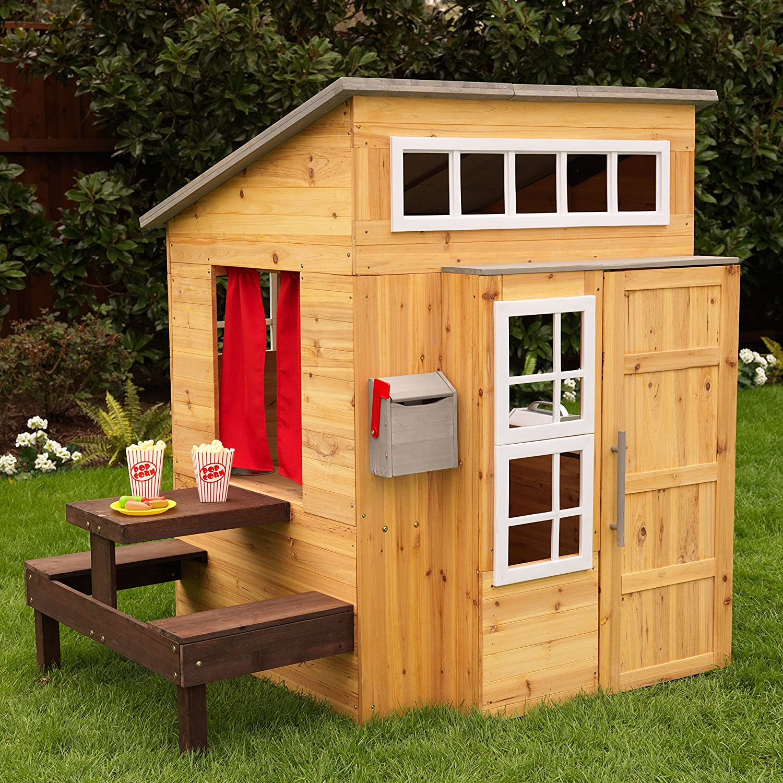 KidKraft Outdoor Playhouse 182 casetta gioco giardino e esterno Moderna in Legno per Bambini con cucina integrata, tavolino da Picnic e Due panche, ...