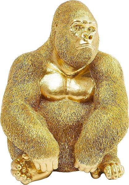 Statua gorilla oro Kare figura decorativa monkey, dorata in resina sintetica