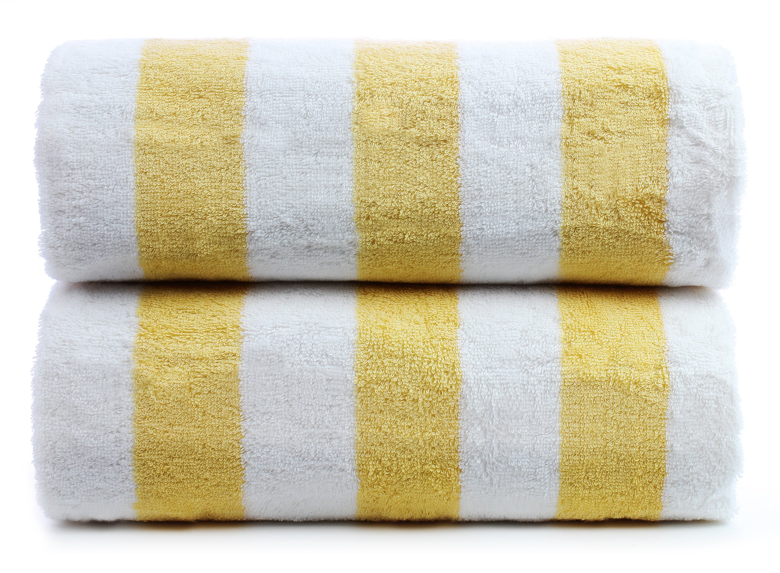 Premium Quality Large Hotel and Spa 2-Piece Beach Towels, Pool Towels with Cabana Stripe, Eco-friendly, Turkish Cotton (Yellow, 30x60 inches)
