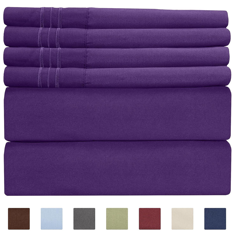 CGK Unlimited Extra Deep Pocket Sheets - Super Deep Pocket Bed Sheet Set - Deep Fitted Flat Sheet - Deep Queen Sheets Purple - Queen Sheet