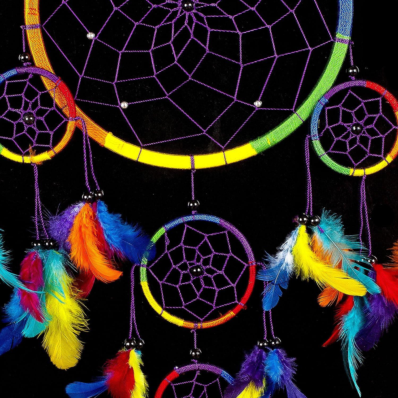 Gro/ßer Traumf/änger Mit 22 cm Durchmesser und 60 cm Lang Pink Pineapple Dreamcatcher bunt mit Federn Handgemachter Traumf/änger Regenbogen Multi Farbe