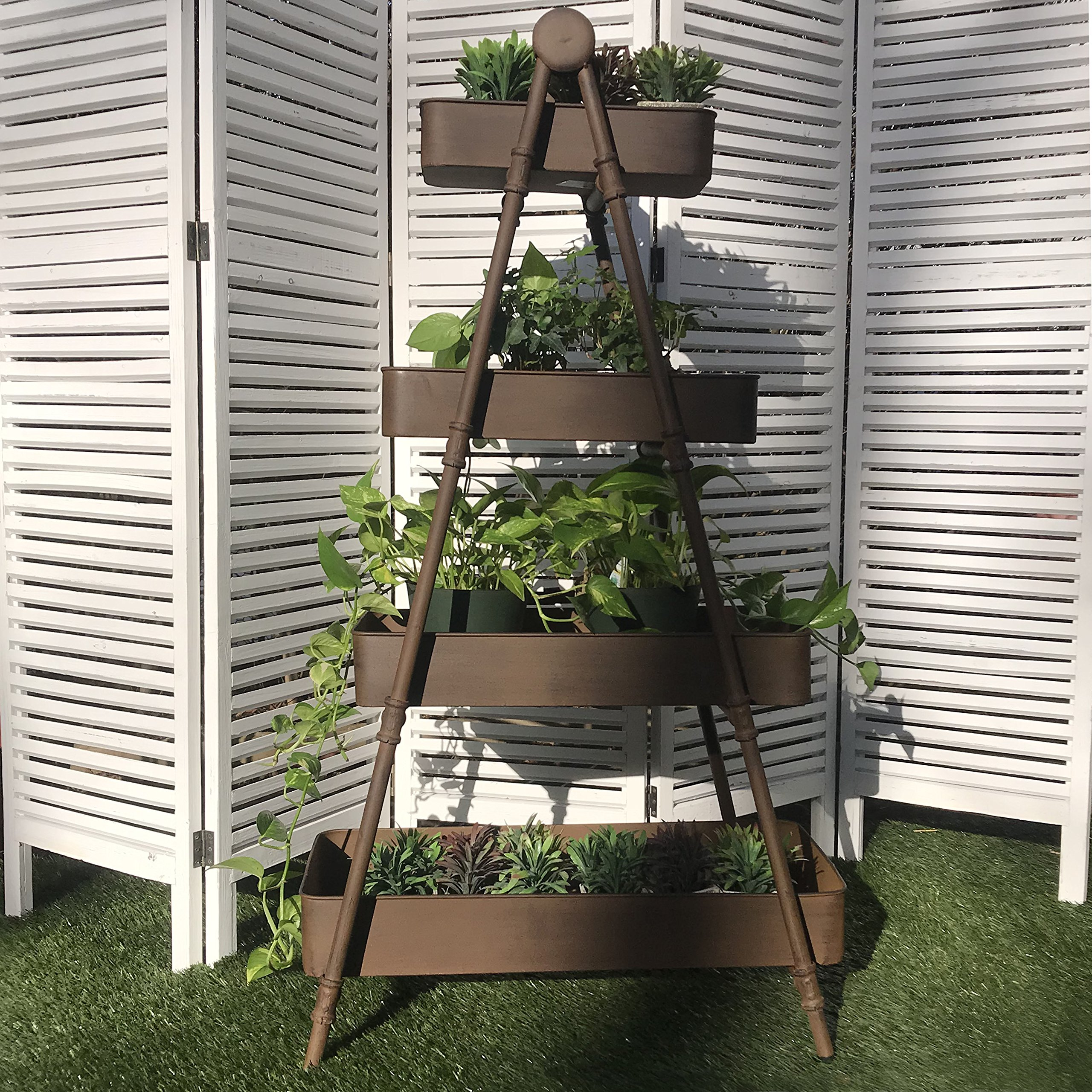 The Farmer's A-Frame Rack With 4 Removable Shelf Trays, Display Stand, Plants, Books Towels, Shoes, Vintage Rustic Style, Distressed, Sturdy Iron, Approx. 4 Ft Tall (47 Inches) By Whole House Worlds