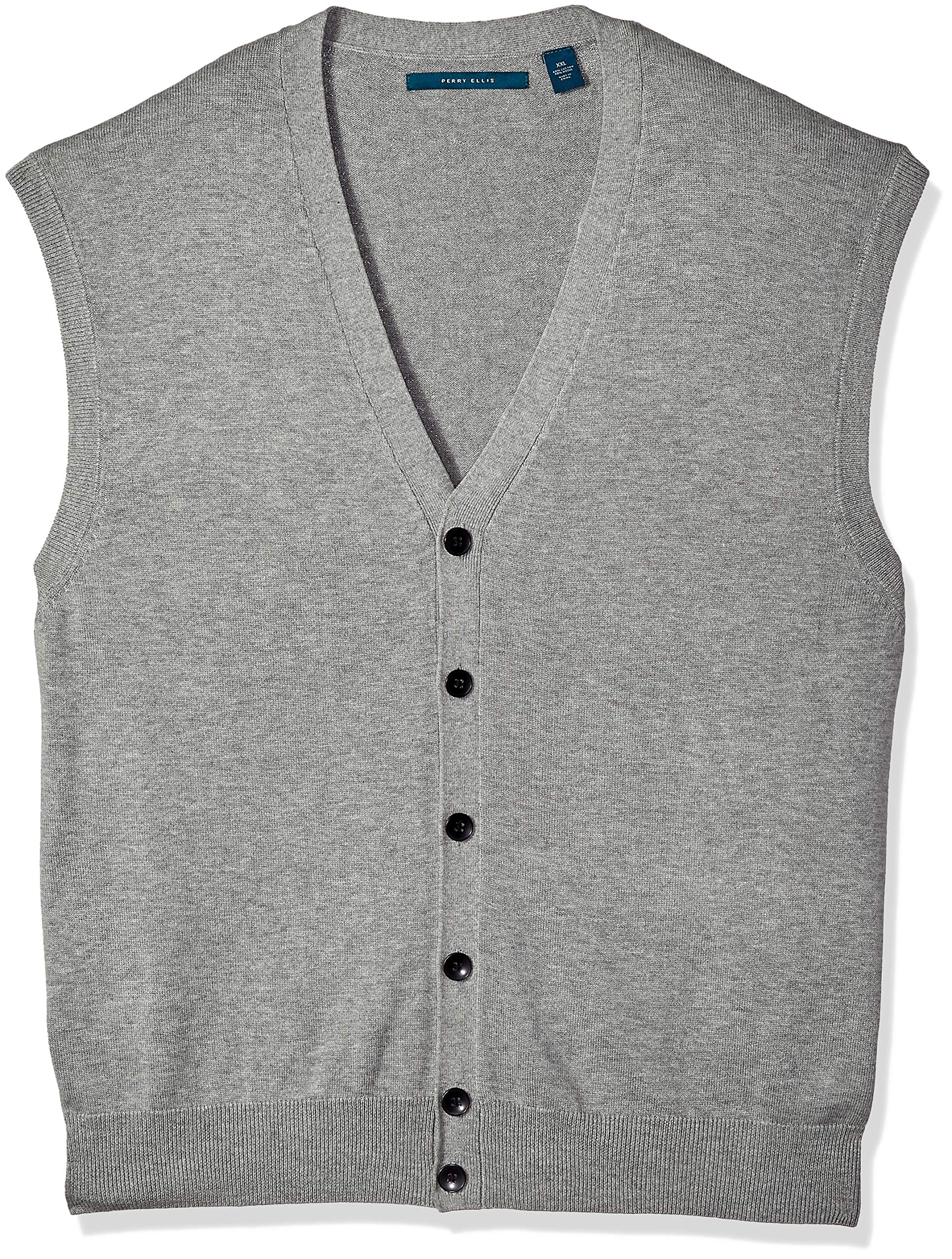 Perry Ellis Men's Jersey Knit Vest, Smoke Heather/DFG, Medium by Perry Ellis