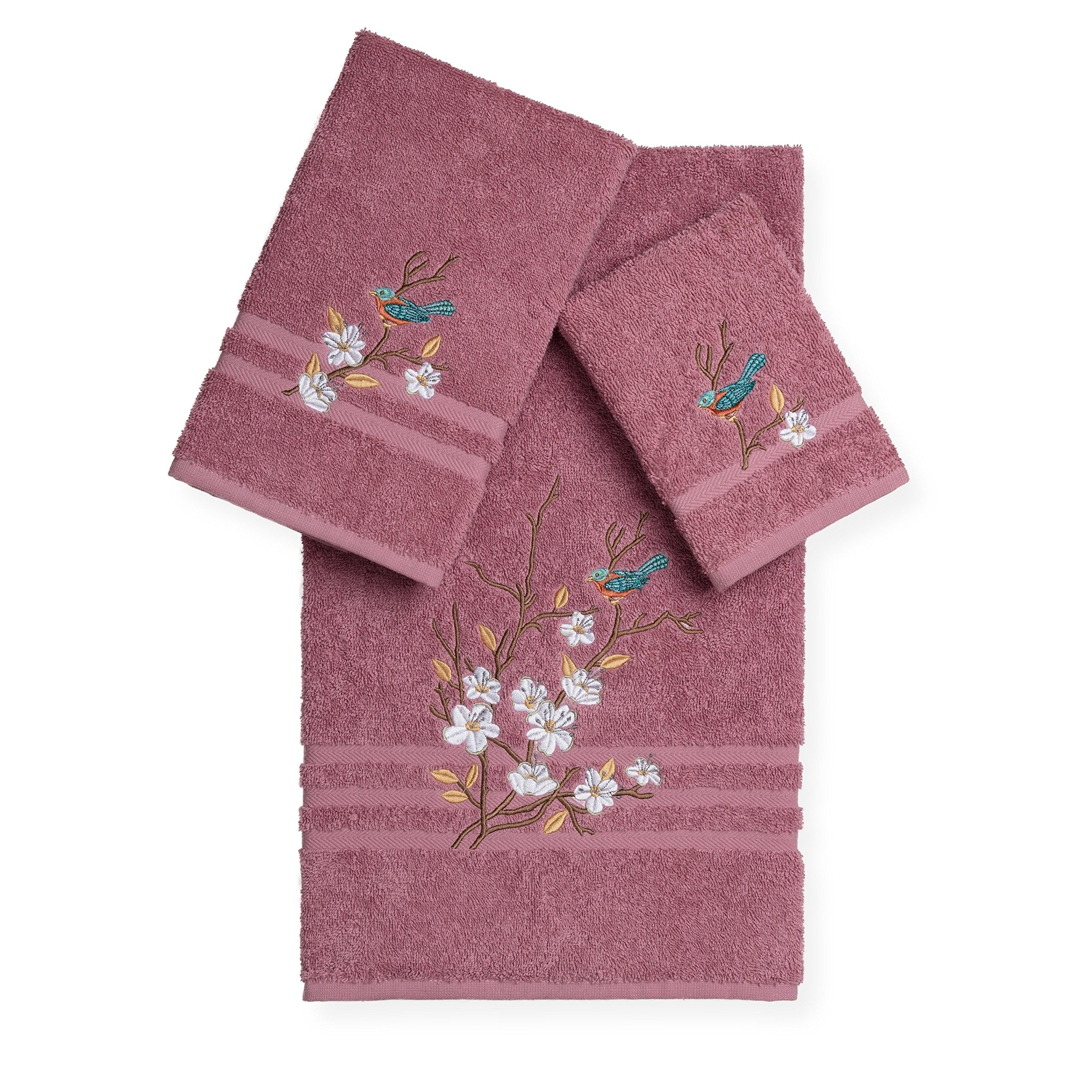 3 Piece Rose Blue Bird Flowers Applique Embroidered Towel Set With 27 X 54 Inches Bath Towel, Light Pink Gold Leaf Animal Floral Stripe Plush Dobby Woven Embellished Absorbent, Turkish Cotton