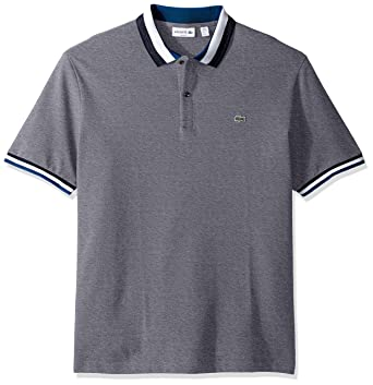 e63fae94f2c8c3 Lacoste Men s Short Sleeve Semifancy with Textured Stripe Collar Slim Polo  at Amazon Men s Clothing store