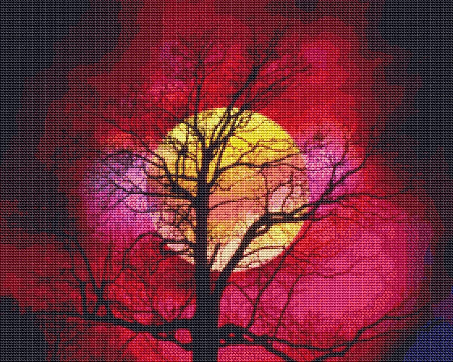 Nature's Finest No. 30 Cross Stitch Pattern Beautiful Moon against Tree Silhouette Cross Stitch Pattern only (Not a kit) StitchX Cross Stitch 4336932957