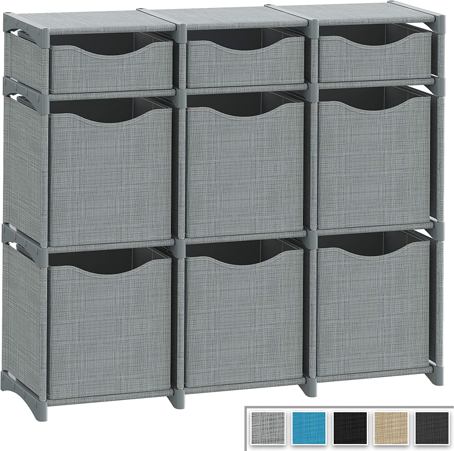 9 Cube Organizer | Set of Storage Cubes Included | DIY Closet Organizer Bins | Cube Organizers and Storage Shelves Unit | Closet Organizer for Bedroom, Playroom, Livingroom, Office, Dorm (Grey)