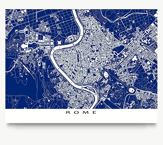 Amazon rome map print italy europe navy blue blueprint rome map print italy europe navy blue blueprint style city art malvernweather Image collections