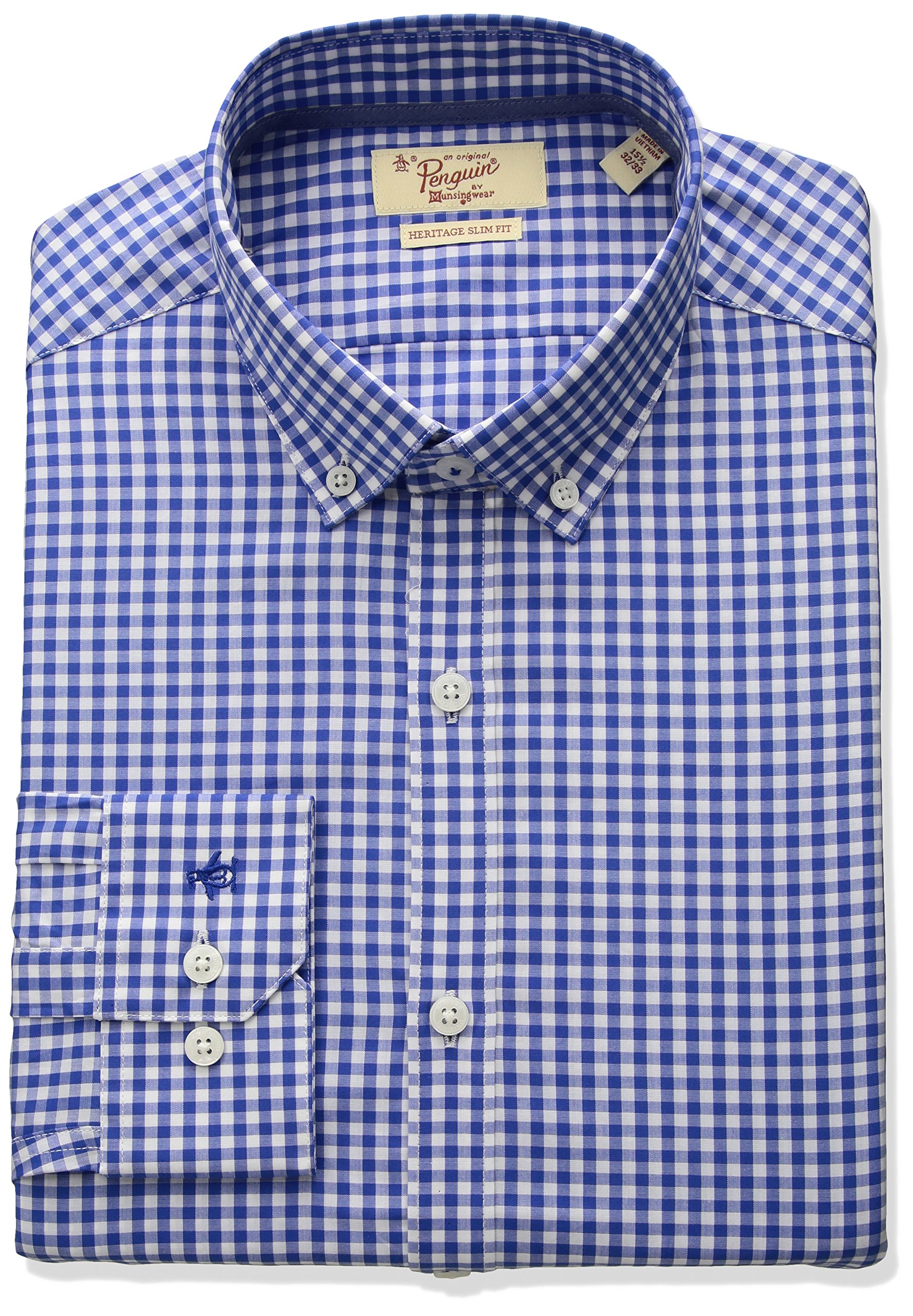 Original Penguin Men's Slim Fit Button Down Collar Dress Shirt, Blue Gingham, 16 34/35