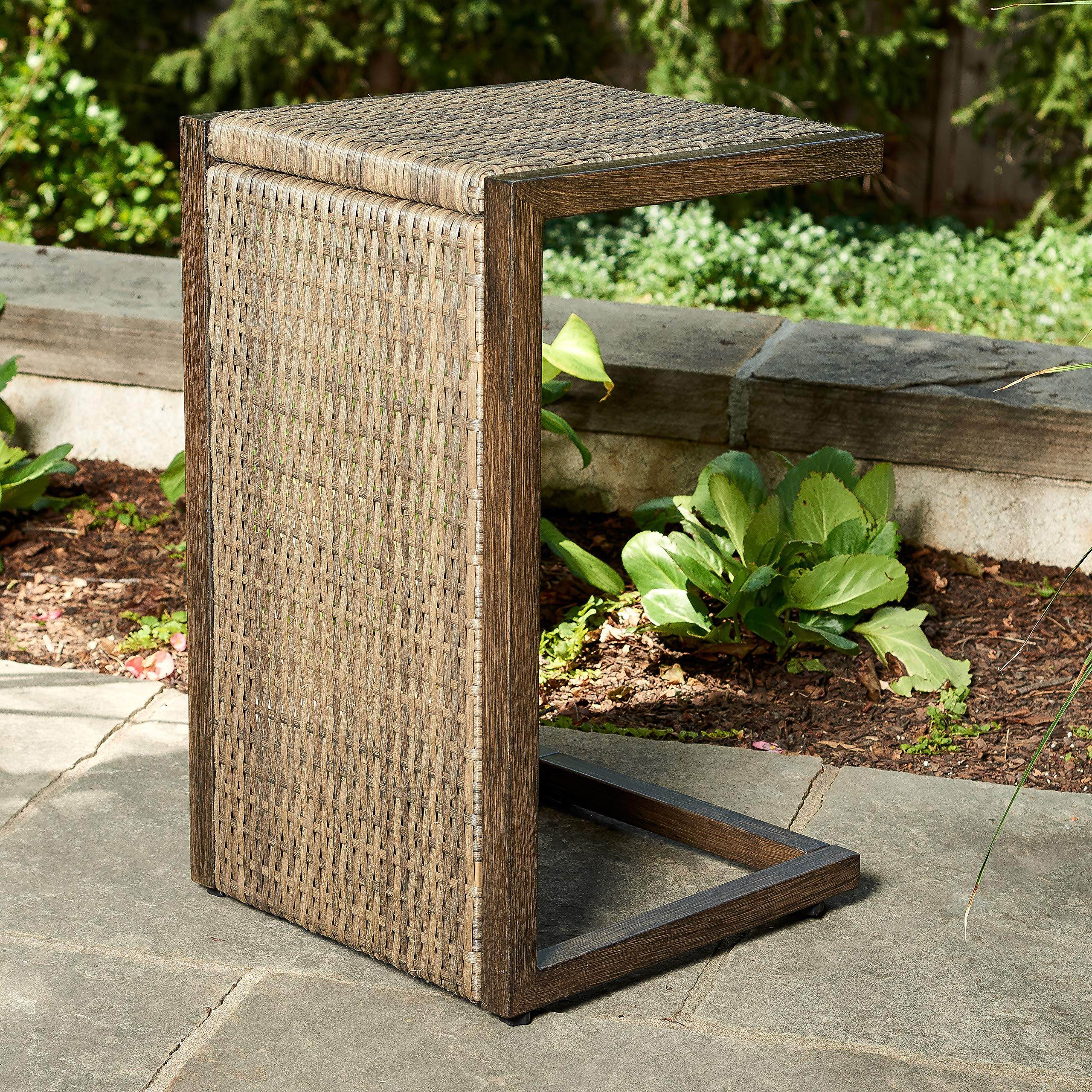 Quality Outdoor Living 65-YZST01 Santa Monica Side Table, Brown Wicker by Quality Outdoor Living