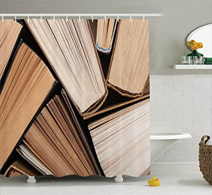 Ambesonne Abstract Home Decor Shower Curtain Set Pile Of Old Books Research Reading Library Education